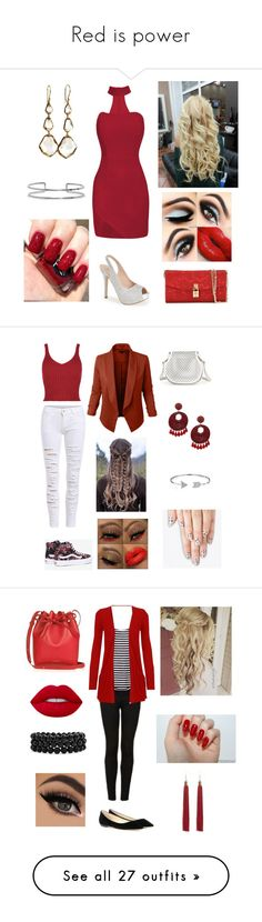 """""""Red is power"""" by aolivero ❤ liked on Polyvore featuring Lauren Lorraine, Dolce&Gabbana, Ippolita, Boohoo, Vans, Shibuya, Cynthia Rowley, Kenneth Jay Lane, Bling Jewelry and alfa.K"""