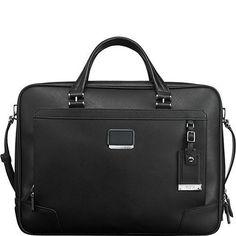 Tumi Astor Ansonia Zip Top Leather Briefcase Laptop 93230 Bag Black Reg $795 NEW