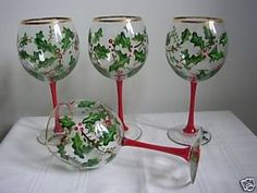 Hand painted Christmas Wine Glasses with Holly