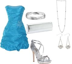 Blue party dress, created by dian-1 on Polyvore