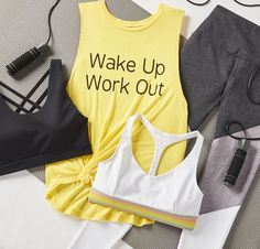 wake up, workout. Cute Workout Outfits, Cute Comfy Outfits, Workout Attire, Casual Work Outfits, Womens Workout Outfits, Sporty Outfits, Athletic Outfits, Girls Sports Clothes, Girls Fashion Clothes