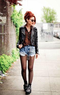 Cheetah, studded shorts, tights