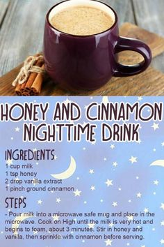 This Honey and Cinnamon Nighttime Drink is the perfect way to relax and destress at night! Yummy Drinks, Healthy Drinks, Healthy Snacks, Yummy Food, Healthy Recipes, Tasty, Healthy Bedtime Snacks, Healthy Nutrition, Easy Recipes