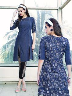 Indian designer blue denim fancy kurti