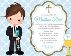 First Communion Invitation, Boy, Blue, Gold, Any Hair Color - Printable or Printed Create Invitations, Digital Invitations, First Communion Invitations, Photo Center, First Holy Communion, How To Make Notes, Boy Blue, For Your Party, Confirmation