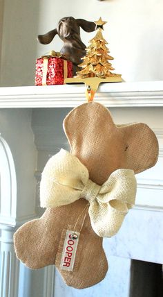 DOG / PET Christmas Stocking Unique burlap by ChristmasClaude