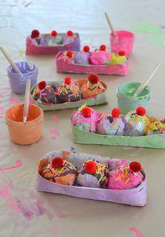 kids use paper mache to make ice cream sundaes ~ a wonderful, sensory, multi-step art experience