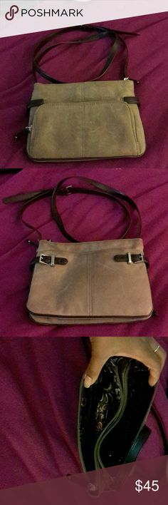 Clarks by Tignanello Leather Crossbody bag Gorgeous Nubuck Leather  Dark Brown Leather trim Tignanello Bags Crossbody Bags