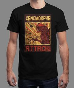 """Xenomorphs Attack!"" is today's £8/€10/$12 tee for 24 hours only on www.Qwertee.com Pin this for a chance to win a FREE TEE this weekend. Follow us on pinterest.com/qwertee for a second! Thanks:)"