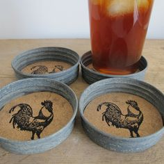 Mason jar lid Rooster Coasters Could cut out cork circles and stamp with anything! Great family gift!
