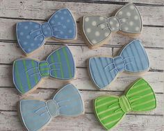 Bowtie cookies.  Baby boy shower.  Little man. Father's day.  Royal icing sugar cookies.