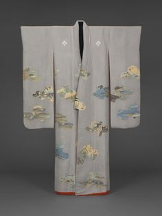 Long-Sleeved Kimono late 18th - early 19th century Plain silk: resist dyed, painted, and embroidered