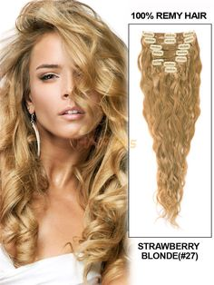 7 Piece Deluxe Set French Wave Clip In Indian Remy Human Hair Extension - Strawberry Blonde( Beauty Hair Extensions, Weft Hair Extensions, 100 Human Hair Extensions, Remy Human Hair, Human Hair Wigs, Monofilament Wigs, Blonde Hair With Highlights, Full Hair, Strawberry Blonde