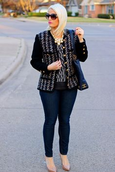 Blazer, Pearls and Skinny Jeans