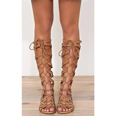 Nina Faux Leather Gladiators ($37) ❤ liked on Polyvore featuring shoes, sandals, cognac, caged sandals, vegan sandals, vegan shoes, laced up gladiator sandals and open toe sandals