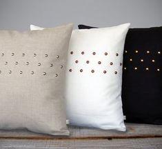 pillow arrangement CUSTOM Metallic Studded Pillow Cover - Premium Linen by JillianReneDecor Diy Pillows, Linen Pillows, Decorative Pillows, Custom Pillows, Cushions, Throw Pillows, Cushion Covers, Pillow Covers, Pillow Arrangement