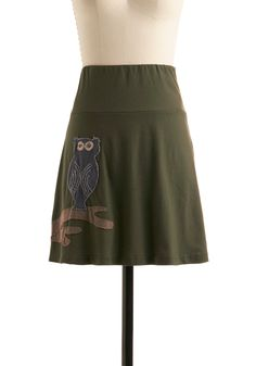 Hoo, Me? Skirt - Green, Blue, Brown, Print with Animals, A-line, Casual, Owls, Fall, Short, Eco-Friendly, Cotton