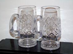 Vintage Crystal Heavy Cut Beer Mug/Tanker England Pineapple Diamond Pint