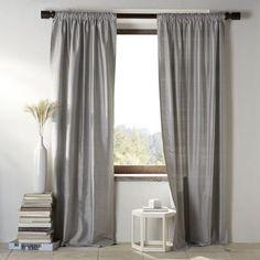 WE, Silk pole-pocket window panel, pewter