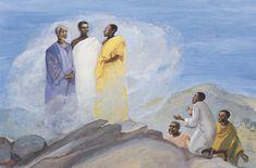 Transfiguration (Global Art) This coming Sunday (Feb is the celebration of the Transfiguration. Christian Images, Christian Art, Scripture Art, Bible Art, African Love, African Jesus, Seasonal Image, The Transfiguration, Black Jesus