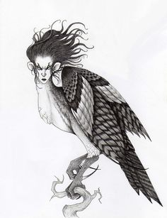 Harpie -- bird of prey with a woman's face Satyr, Centaur, The Wild Geese, Mermaids And Mermen, Gremlins, Cherub, Goblin, Woman Face, Magick