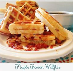 Maple Bacon Waffles Recipe - Breakfast just got better. Delicious fluffy waffles drizzled in maple syrup and pieces of crispy bacon...is it breakfast time yet??