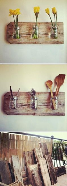 Altes Holzbrett + Einmachgläser mit Hilfe einer Schlauchschelle am Holzbrett befestigt