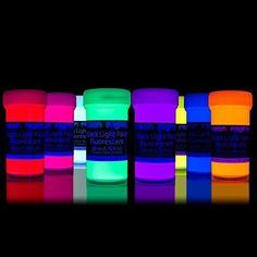 neon nights nachleuchtende Neon Farben   Phosphoreszierende Wandfarbe für Glow Effekt im Dunkeln   8 x 20ml UV Paint Set