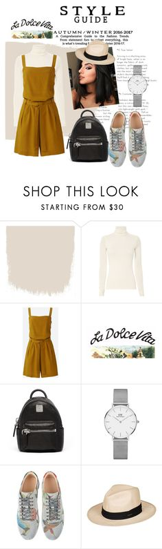 """""""casual weekend outfit #overall #summerhat #blackbackpack #DW #Gucci"""" by difebrianaa ❤ liked on Polyvore featuring Uniqlo, Dolce Vita, MCM, Daniel Wellington, Gucci and Roxy"""