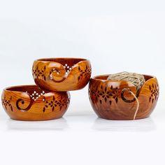 Wooden Lattice Yarn Bowl for Knitting Crochet Holderl with | Etsy