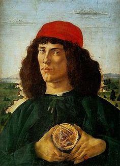 Sandro Botticelli , portrait d'homme avec médaille de Cosme l'Ancien, 1474-1475, Tempera et stuc doré sur bois 57,5+44cm, Galerie des Offices, Florence