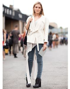 Street Style: denim goes high fashion with ivory layers