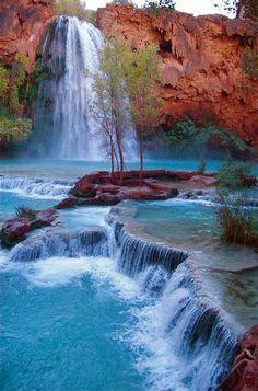 Havasu Falls is a waterfall of Havasu Creek, located in the Grand Canyon, Arizona.