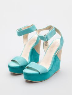 #turquoise #blue #color #shoes #wedges #fashion