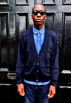 Ribbed vintage cardigan + Denim shirt.