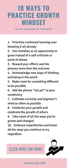 10 Ways to practice growth mindset infographic positive growth info graphic growth mindset positive tips for growth personal development selfimprovement development John Maxwell, Attitude Positive, Positive Mindset, Attitude Quotes, Affirmations, Motivation, Coaching Personal, Life Coaching, Stress
