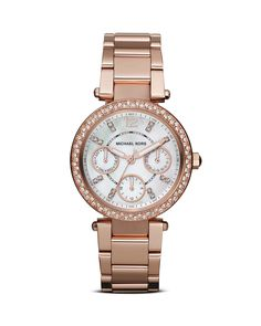 """Michael Kors """"Parker"""" rose-gold watch. Was my Christmas present this year I LOVVVE it!"""