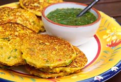 Corn Fritters with Tomatillo-Cilantro Sauce I'm going to use chick pea flour in this recipe