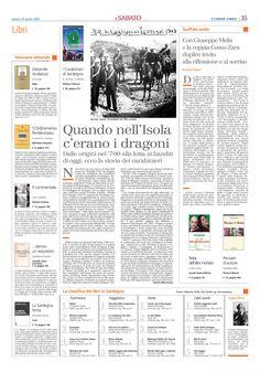 """L'Unione Sarda. 28 aprile 2007. Alberto Monteverde. """"Quando nell'Isola c'erano i Dragoni""""."""