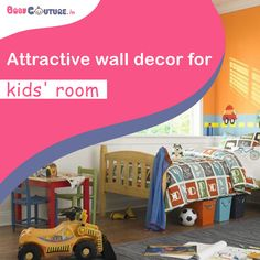 Decorating your kids' room is something that every mom enjoys. Baby Dress Online, Kids Wear Online, Kids Room, Toddler Bed, Wall Decor, India, Decorating, Mom, Children