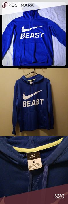 Nike Blue Therma Fit Hoodie This hoodie is 100% Polyester, with a nice Therma fit. This gives off a nice athletic feel to this hoodie! This is a MUST HAVE for any middle schooler or high schooler. Nike Shirts Sweatshirts & Hoodies