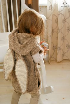KNITTING PATTERN bunny poncho with hood Phoebe toddler