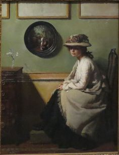 """Sir William Orpen The Mirror November 1878 – 29 September Irish portrait painter, who worked mainly in London. """"The Mirror"""" date Collection Tate UK. Presented by Mrs Coutts Michie through the Art Fund in memory of the George McCulloch Collection 1913 Artist Painting, Painting & Drawing, The Arnolfini Portrait, Matthieu Bourel, Books Art, Irish Painters, Illustration Art, Illustrations, Irish Art"""