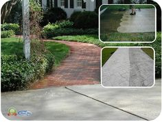 Softwashing - Walk ways. Brick & Driveways with Blue Sky Power Washing Vinyl Soffit, Vinyl Siding, Brick Driveway, Pressure Washing, Driveways, Restoration, Sky, Blue, Sidewalks