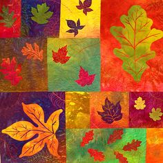 autumn leaves quilt. Use the background colors and applique the leaves.