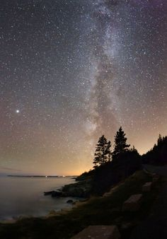 Star gazing at Maine's Acadia National Park.  The park has worked with neighboring Bar Harbor to keep light pollution to a minimum.