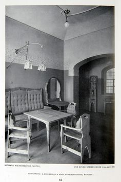 period photograph of a RICHARD RIEMERSCHMID interior, Munich, 1908