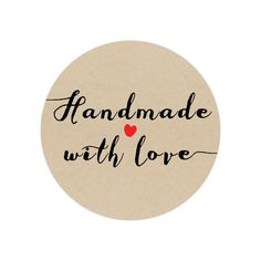 50 Handmade Stickers - Circle Stickers - Handmade with love