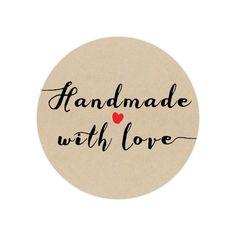 50 Handmade Stickers - Circle Stickers - Handmade with love