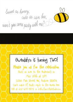 Bee Theme Birthday Party Printables HapBee Birthday Invitation